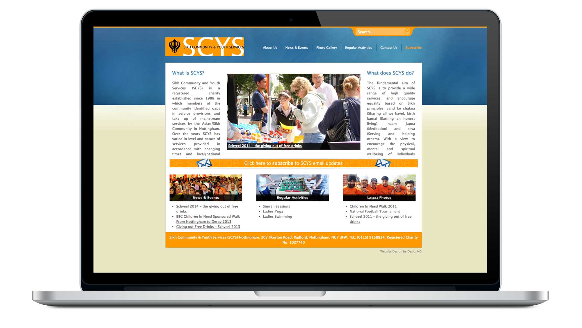 Sikh Community & Youth Services (SCYS) Website Homepage