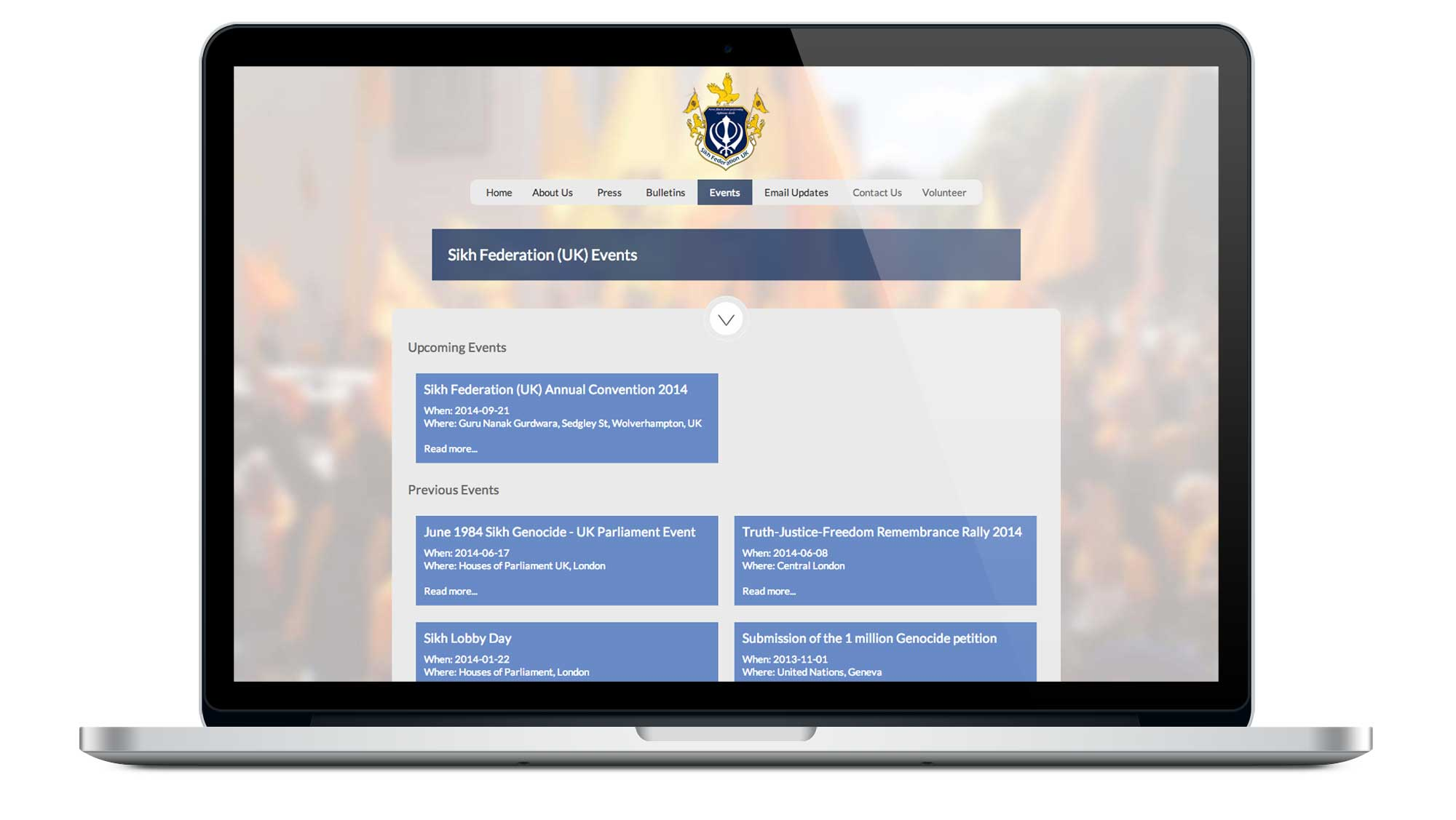 Sikh Federation UK Website Events Page